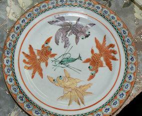 Pair of Chinese Raised Enamel Export Porcelain Plates