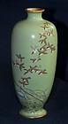 Japanese Cloisonne Enamel Vase with 27 Birds