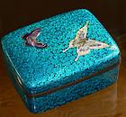 Japanese Cloisonne Enamel Butterfly Box