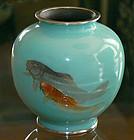 Japanese Cloisonne Enamel Vase with Moriage Koi - Gonda