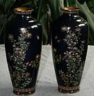 Very Fine Pair Japanese Cloisonne Enamel Vases