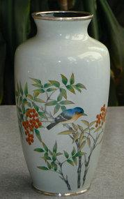 Japanese Cloisonne Enamel Vase with Bluebird