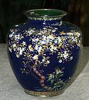 Japanese Cloisonne Enamel Vase w Gold Wire Birds - Ando