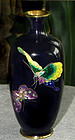 Fine Japanese Cloisonne Enamel Vase with Butterflies