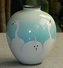 Japanese Cloisonne Enamel Vase Wireless Egrets