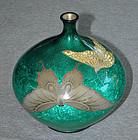 Japanese Cloisonne Enamel & Basse-Taille Vase