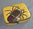 Japanese Cloisonne Enamel Box with Lobster