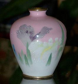 Rare Wireless Cloisonne Enamel Iris Vase Gonda