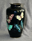 Japanese Cloisonne Enamel Vase with Butterflies