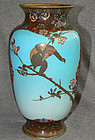 Excellent Early Japanese Cloisonne Enamel Vase Monkey