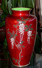 Fine  Cloisonne Enamel vase with Wisteria - Ando