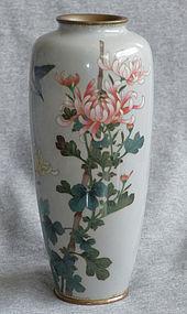 Antique Japanese Cloisonne Enamel Vase with Bird