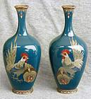 Fine Pair Japanese Cloisonne Enamel Vases - Chickens