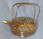 Pristene Japanese Cloisonne Enamel Gilded Wire Teapot From  Kyoto