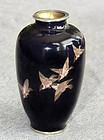 Japanese Cloisonne Enamel Vase Gold Wire Birds - Hayashi