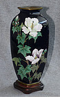 Beautiful Japanese Cloisonne Enamel Vase with Hibiscus