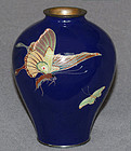 Fine Japanese Cloisonne vase with Butterflies