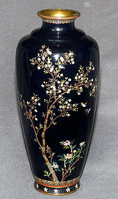 Fine Japanese Cloisonne vase with Birds and Cherry Blossoms