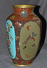 Beautiful 4 Panel  Japanese Cloisonne Enamel Vase - Honda