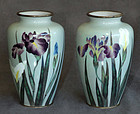 Excellent Pair Japanese Cloisonne Enamel Wireless Vases - Kumeno