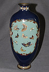 Excellent Japanese Cloisonne Enamel Vase with Butterflies & Cranes