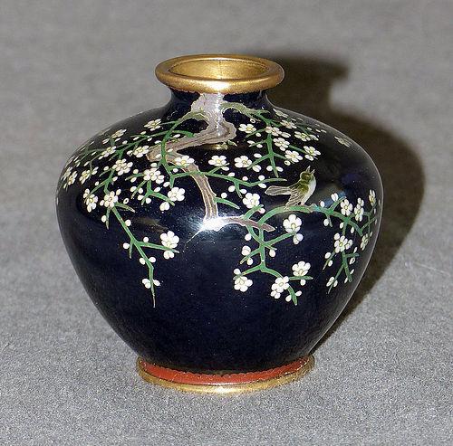 Fine Japanese Cloisonne Enamel Cabinet Vase -Bird and Blossoms