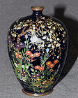 Fine Japanese Cloisonne Enamel Cabinet Vase Swallows & Blooming Plants