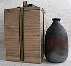 Japanese BIZEN ware. Sake bottle with box.