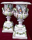 Italian Porcelain Capo Di Monte Amphoras
