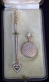 18 Carat Gold Pocket Watch and Chatelaine