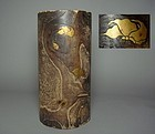 Japanese Natural Wood Vase with Gold Makie