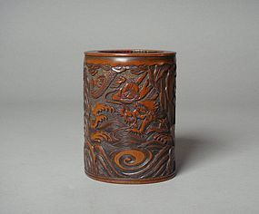 Carved Bamboo Brush Pot, Dragon and Tiger