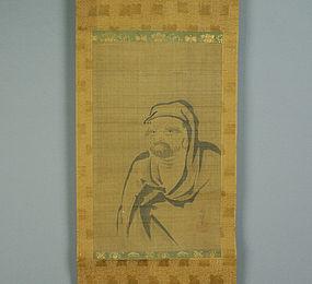 Japanese Scroll Painting Daruma by Naonobu