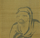 Japanese Scroll Painting Daruma by Naonobu