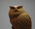 Japanese Wood Sculpture Owl by Takase Hideo