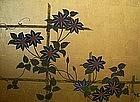 Japanese Gold 2-panel Screen Painting, Tessen