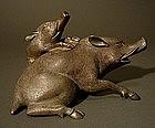 Japanese Bronze Boar Incense Burner