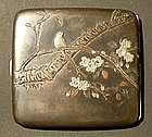 Signed Japanese Cigarette Case with Cherry and Bird