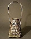 Japanese Woven Silver Flower Basket by Miyamoto