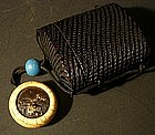 Japanese Lacquer Tobacco Box and Narwhal Tusk Netsuke