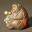 Fine Japanese Incense Box Monkey Shape