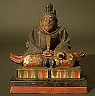 Japanese Wood Carving Statue of Tenjin, Shinzo