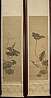 Pair of Fine Japanese Scroll Paintings, Lotus