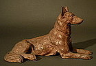 Signed Japanese Okimono Wood Carving Dog