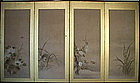 Japanese 4-panels Screen Painting Flower and Bird
