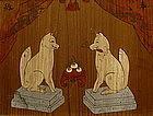 Japanese Wooden Votive Plaque Ema, Inari Fox