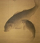 Japanese Scroll Painting Two Carps