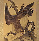 Japanese Scroll Painting Hawk in Rugged Mountain