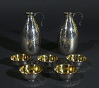 Japanese Silver Sake Bottles and Cups Set