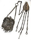 Rare Steel Chatelaine w/Cut Steel Mesh Purse